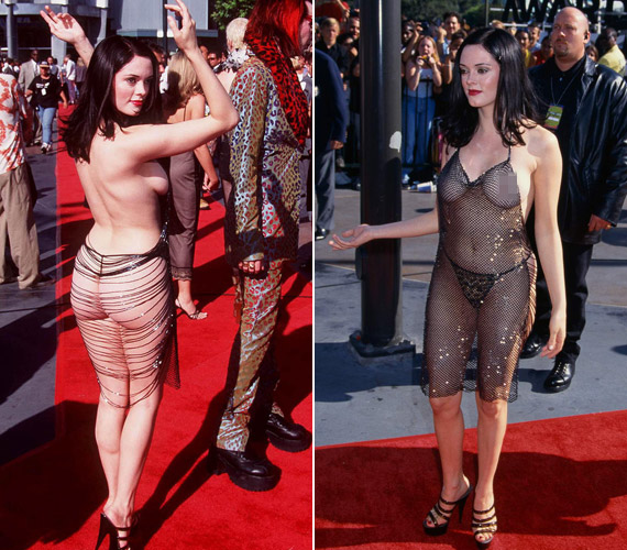 Rose McGowan az 1998-as MTV-díjátadón jelent meg hasonló ruhában, ő még arra sem vette a fáradságot, hogy a mellbimbóit leragassza.