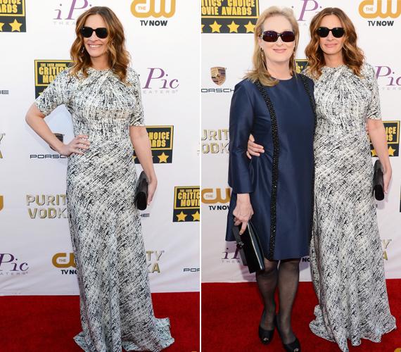 Julia Roberts és Meryl Streep együtt játszik az Augusztus Oklahomában című filmben és a vörös szőnyegen is együtt vonultak.