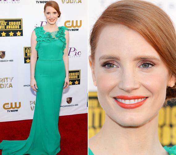 Jessica Chastain vörös hajához remekül illett a zöld Nina Ricci ruha.