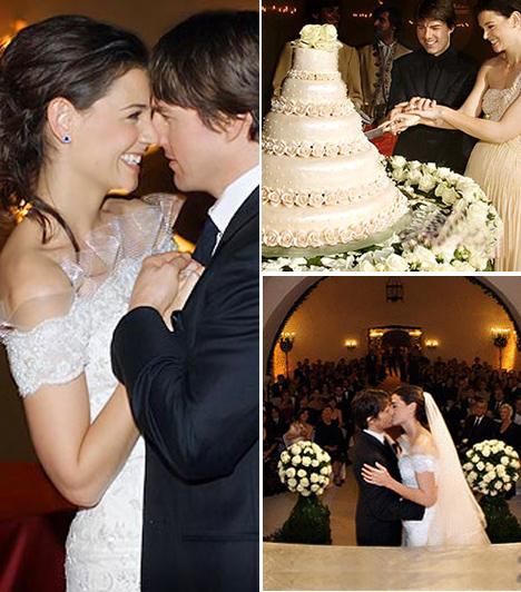 Tom Cruise és Katie HolmesA sztárpár 2005 áprilisában kezdtett randizni, Tom egy romantikus római vakáción vallott szerelmet a nála 16 évvel fiatalabb Kate-nek. Kislányuk, Suri 2006 áprilisában született, esküvőjüket pedig novemberben tartották az olaszországi Braccianóban, az Odescalchi-kastélyban. Rózsákkal díszített, ötemeletes tortájuk fehér csokiból készült.Kapcsolódó cikk:Nem érezte kínosnak? Katie Holmes meglepő öltözékben ment strandolni »