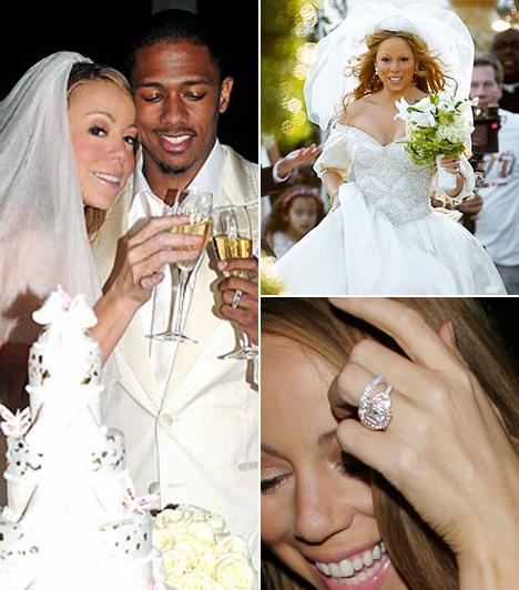 Mariah Carey és Nick Cannon  Az aranytorkú énekesnő és a színész-rapper Cannon 2008. április 30-án esküdtek meg a Bahamákon. A vendégeket, sőt, még a virágokat is magánrepülővel szállították a helyszínre. Az ötemeletes esküvői tortát pedig hófehér pillangókkal díszítettek fel a cukrászok. 2011 tavaszán Mariah ikereknek adott életet.  Kapcsolódó cikk: Ez tényleg elképesztő! Mariah Carey olyat mutatott, amit biztosan sosem felejtesz el »