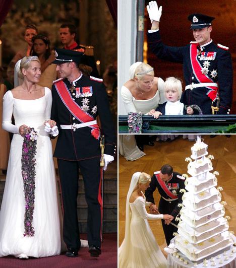 Mette-Marit és Haakon herceg  Haakon norvég koronaherceg 2001. augusztus 25-én vette feleségül a polgári származású Mette-Marit Tjessem Höibyt. A közvélemény eleinte nem nézte jó szemmel, hogy az ara már egyedülálló anya volt, sőt, korábban kicsapongó életet élt, így kábítószerezett is, ám a képpel, ahogy az újdonsült pár a hercegnő kisfiával integetett az erkélyről, mindenki szívébe belopták magukat.