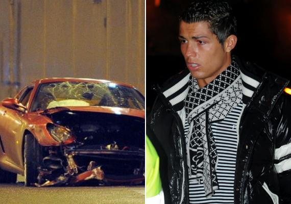 A portugálok neves futballsztárja, Cristiano Ronaldo 2009-ben egy manchesteri alagútban szalagkorláttal ütközve törte totálkárosra Ferrariját. A sportoló nem szenvedett sérüléseket.