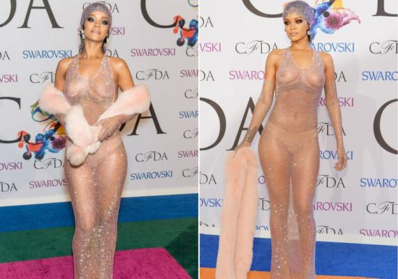Rihanna a 2014-es CFDA-divatgálán sokkolta a rajongóit ezzel a teljesen áttetsző darabbal. Bugyit igen, azonban melltartót ő sem húzott.