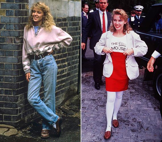 A nyolcvanas évek divatja ma már nagyon kínosan néz ki, főleg így halmozva: bő, egyenes szárú farmer, mokaszin, pulcsi betűrve, fehér harisnya, kusza frizura - Kylie ekkoriban volt tinédzser, 1987-ben jelent meg a Loco-Motion című slágere.