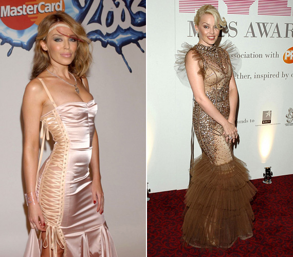 A kevesebb néha több: a 2003-as brit díjátadóra felvett fűzőszerű selyemruhával egészen jól kibékülnénk, de a műanyag fejdíszt nem tudjuk hova tenni. 2007-es ruhája, amelyet egy zenei gálán viselt, szintén rendben lett volna, ha a burjánzó tüllrészektől megszabadult volna.