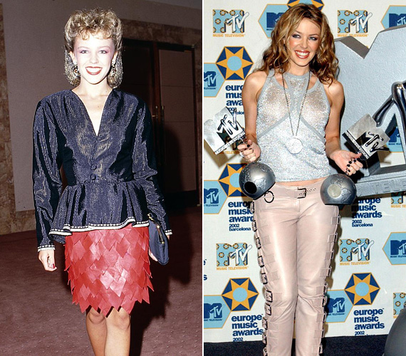 A csillogós ruhák is vissza-visszatérnek a repertoárban: az 1987-es választása egyszerűen túl sok a piros bőrszoknyával, de a 2002-es halványkék lurexfelső és hozzá a rózsaszín nadrág sem bizonyult a tökéletes díjátadós outfitnek.