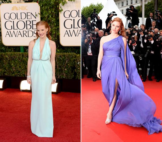 Jessica Chastain nagyon rosszul választott a bal oldalon látható ruhával, hiszen az a furcsán kialakított dekoltázsa miatt olyan, mintha a színésznő mellei nagyon megereszkedtek volna. A lila ruhát Cannes-ban viselte tavaly - ez lágyan hangsúlyozta alakját és remekül illett vörös hajához is.