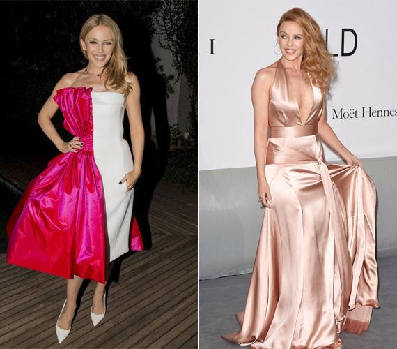 Kylie Minogue a jobb oldali képen egy gyönyörű, lazacrózsaszín ruhát visel, amiért számos helyen dicsérték. A kép a tavalyi amFAR-gálán készült.