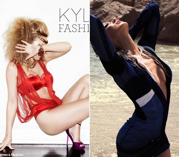 Kylie Minogue könyvének címlapján tűzpiros fehérneműben pózol. Nem kevésbé dögös az a fotó sem, amelyen egy tengerparton pózol, és látni engedi a dekoltázsát.