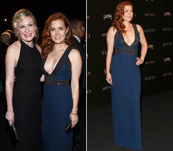 Amy Adams színésznő nem szégyenlősködött, gyönyörű kék Gucci ruhájában szépen érvényesült az alakja, ám feltehetően minden szem a dekoltázsára tapadt, hiszen hófehér bőre erőteljesen elütött a sötét anyagtól. Mellette Kirsten Dunst a klasszikus feketére szavazott.