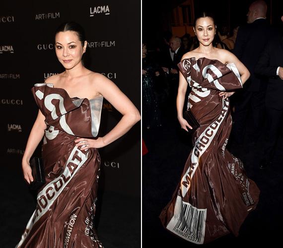 China Chow ugyan nem tartozik az élvonalbeli színésznők közé, a 40 éves sztárt inkább figyelemfelkeltő ruhája miatt választottuk az összeállításba. Egy Moschino ruhát viselt, ami pontosan úgy nézett ki, mintha csokipapírból varrták volna, még a vonalkód is ott volt az alján.