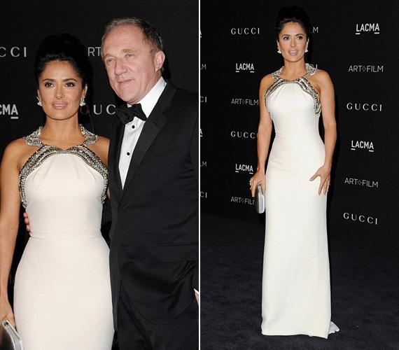 Salma Hayek hófehér Gucci ruhában tündökölt, a 48 éves színésznő férjével, François Henri Pinault-val vett részt az eseményen.