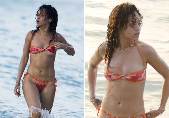 Rihannának nem sikerült eltalálnia a saját kosárméretét, ezért cicijei majdnem kiestek aprócska bikinifelsőjéből.