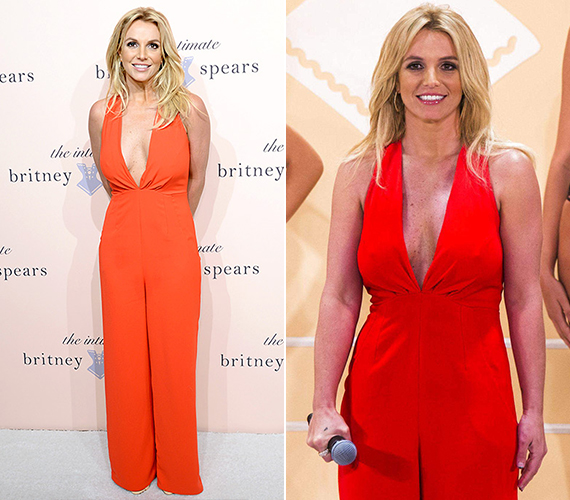 A 33 éves énekesnő, Britney Spears tavaly szeptemberben viselte ezt a tűzpiros, bőszárú és nagyon mélyen dekoltált overált, méghozzá egy róla elnevezett fehérnemű márka bemutató estjén, New York-ban.