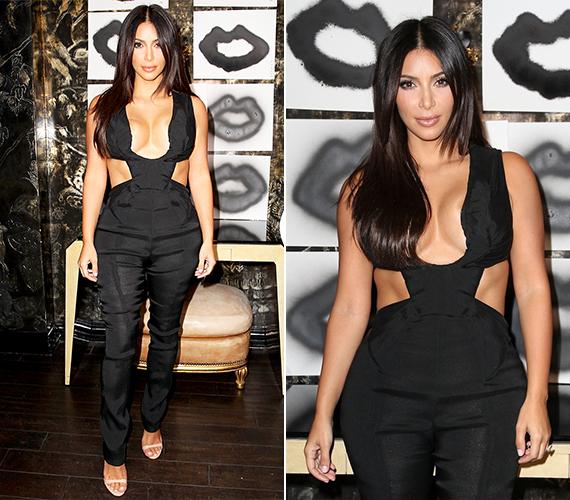 Kanye West felesége, az 34 éves reality-celeb, Kim Kardashian tavaly nyáron bújt ebbe a nagyon merész, fekete, mély nyakkivágású overálba. A párnak 2013-ban született meg első közös gyermeke, egy kislány, North West.