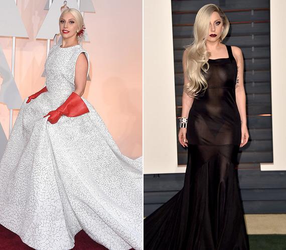 Lady Gaga még akkor is belecsempész valami meghökkentőt a ruhatárába, amikor alapból klasszikusan elegáns. Az idei Oscarra két különös szettet is összehozott: az elsőt a piros takarítókesztyű teszi feltűnővé - született is róla jó néhány mém -, a másodiknál pedig bizonyos megvilágításban kiderült, hogy teljesen átlátszó, és a híresség még melltartót sem viselt alatta.