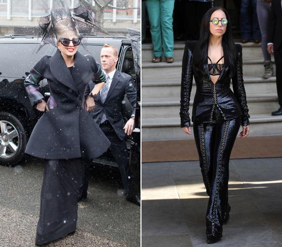 A bal oldali, kicsit gót szettben a Harvardra látogatott el 2012-ben. A jobb oldali képen szintén feketét visel, ebben a furcsa szettben távozott a hotelszobájából 2013-ban.