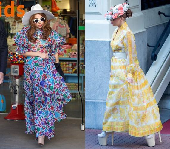 A balra látható kék mintás szettet 2013 januárjában vette fel Hollywoodban. A jobb oldali sárga, virágos ruhát és ezt a hihetetlenül magas platformcipőt 2012-ben viselte Amszterdamban, amikor a Ziggo Arenában lépett fel.