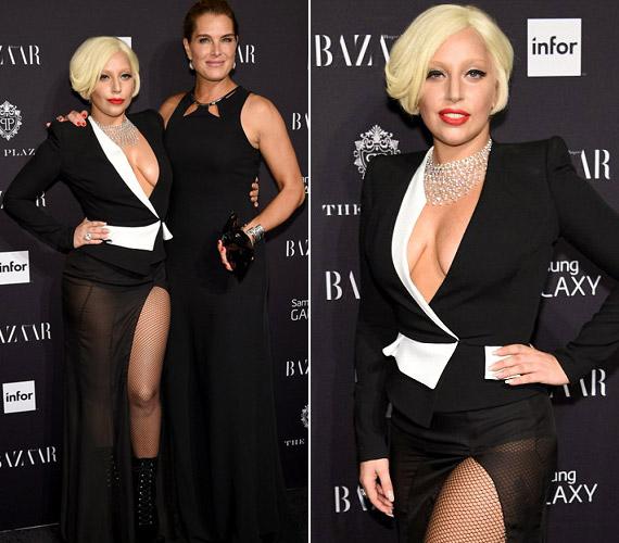 Lady Gaga ruhája merész volt, ugyanakkor végre nem nézett ki rosszul a 28 éves énekesnő.