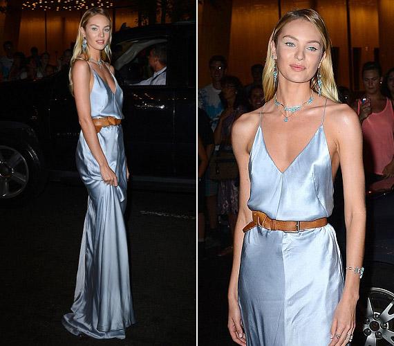 Candice Swanepoel, a Victoria's Secret angyala halványkék ruhát választott, melyet egy bőr övvel dobott fel.