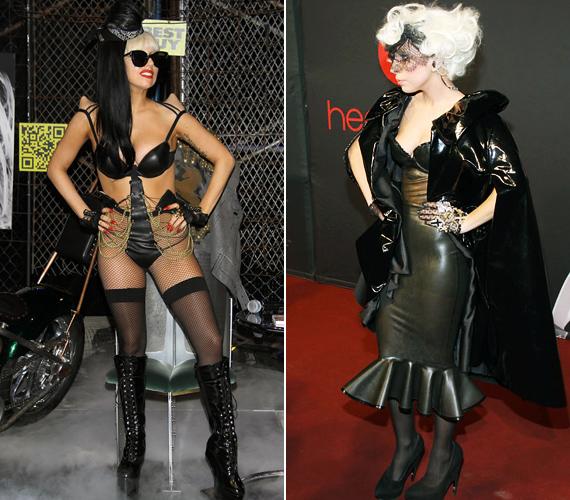 A röhejes, bőrmelltartós szettet New York-i dedikálásán viselte, a maszkos fekete jelmezt pedig egy áprilisi partin.
