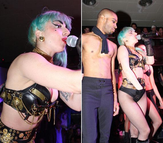 Lady GaGa meglehetősen alulöltözve borzolta fel a kedélyeket - a két nightclubban több száz rajongó várta fellépését.