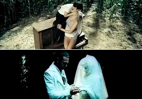 Lady GaGa éppen férjhez megy, egy másik képkockán pedig a már említett zongorán csókolózik - saját magával.