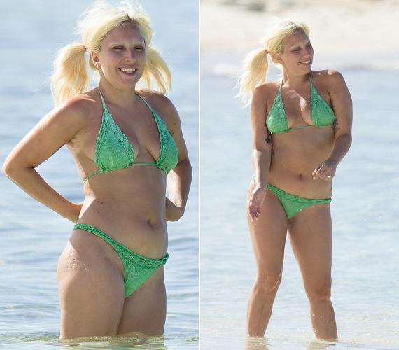 Lady Gaga olyan jól érezte magát, hogy táncolgatni kezdett a bokáig érő vízben. Ezeken a fotókon debütáltak vadonatúj, szőkített szemöldökei.