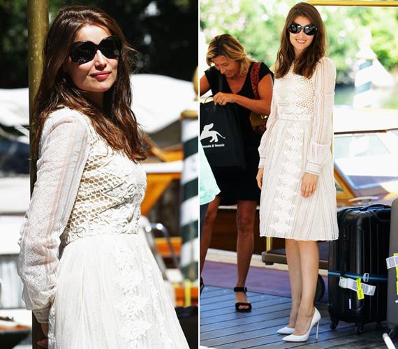 Augusztus 28-án a fesztivál elő partijára ebben a horgolt, hófehér Valentino egyberuhában érkezett.