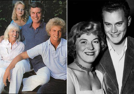 Bal oldalon ismét egy családi fotó látható a Hagman famíliáról, a jobbon pedig egy fiatalkori kép Majről és a sármos Larryról.