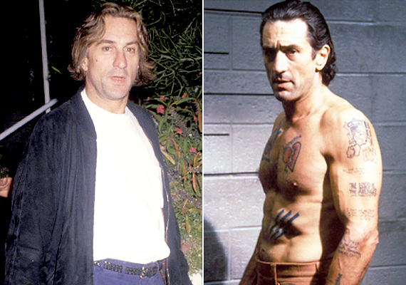 Rober De Niro A rettegés fokában pszichopata bűnözőt alakított, akit kizárólag a bosszúvágy éltetett. Ennek érdekében alaposan kigyúrta magát, sőt, néhány lemosható tetkót is bevállalt.