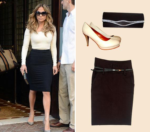 Jennifer Lopez is a tökéletességig fejlesztette az alkatának megfelelő öltözködést. Ez a klasszikus összeállítás tuti befutó lehet a munka világában!A szűk fekete szoknya 6990 forint, a bézs magassarkú 3690 forint, a borítéktáska 1800 forint az AsiaCenterben.