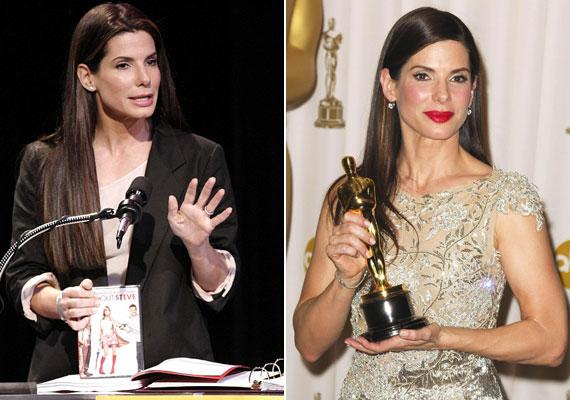 A filmvilág történetében még egyszer sem volt arra példa, hogy egy színész ugyanabban az évben kapja meg a legrosszabb színésznek járó Arany Málnát, ugyanakkor a legjobb színésznek járó Oscar-díjat. Sandra Bullocknak 2009-ben ez sikerült. Az Arany Málna átvételekor többször viccelt, az Ő a megoldás című, gyengén sikerült filmjét pedig saját DVD-kel promózta. Egy nappal később az Oscar-díjátadón szinte ugyanazt a beszédet mondta el.
