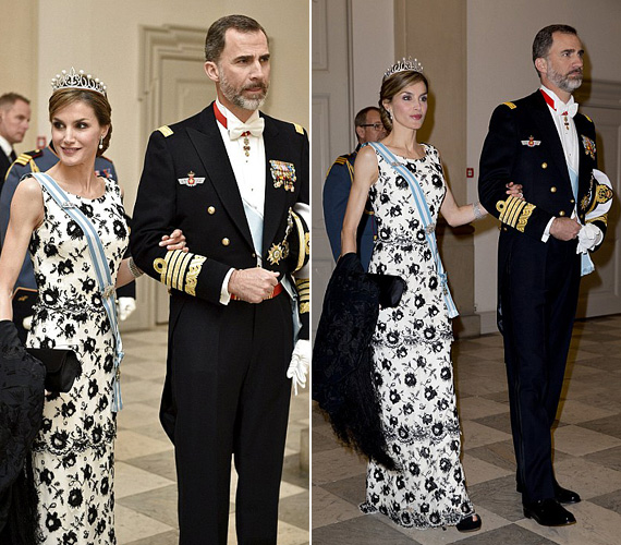 Letícia spanyol királyné gyönyörű volt fehér alapon fekete virágos ruhájában - két gyermek után is elképesztően karcsú tudott maradni.