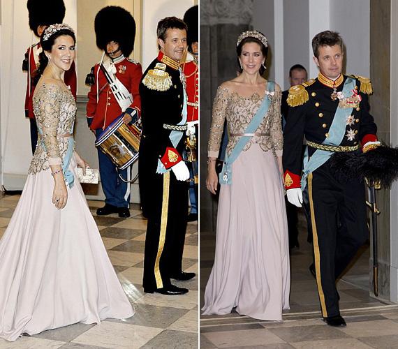 Mária dán királyi hercegnőről senki nem mondaná meg, hogy négy gyermek édesanyja, csodásan nézett ki a csipkés felsőrésszel rendelkező ruhában, amely karcsú alakját is hangsúlyozta. A 43 éves, mosolygós hercegnő férje, Frigyes dán királyi herceg társaságában érkezett.