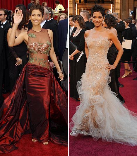 Halle Berry  A színésznő legmerészebb Oscar-ruhája volt a 2002-es, átlátszó felsőrészű, burgundivörös Elie Saab estélyi. 2011-ben pedig egy pezsgőszín Marchesa darabot viselt.