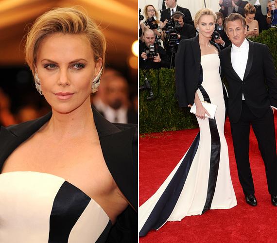 Charlize Theron a MET-gálán tette tiszteletét ebben a királynői Dior ruhában. A 39 éves sztár párjával, Sean Penn-nel jelent meg a május 5-én megtartott jótékonysági bálon, alig akarták elengedni egymás kezét.