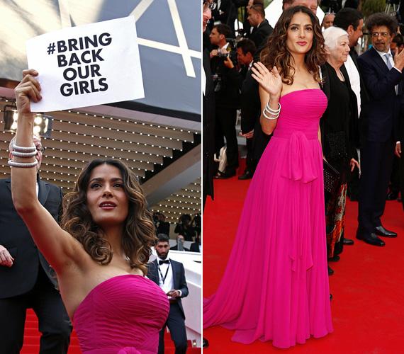 """Szintén a cannes-i filmfesztiválon keltett feltűnést fukszia ruhájában Salma Hayek. Ám nemcsak a ruha élénk színe miatt figyeltek oda a 48 éves színésznőre, hanem mert a sajtóérdeklődést kihasználva egy papírt felemelve követelte: """"Engedjétek szabadon a lányainkat!"""" Tavasszal rengeteg híresség kampányolt így élőben vagy a közösségi oldalakon, annak reményében, hogy a Boko Haram szabadon engedi az általuk elrabolt háromszáz iskoláslányt."""