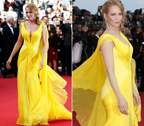 Uma Thurman Cannes szépe volt kanárisárga ruhájában. A május 14. és 25. között tartott franciaországi filmfesztiválon idén újra bemutatták híres filmjét, a Ponyvaregényt, amely éppen 20 éve került a mozikba. A vörös szőnyegen a 44 éves színésznő a film rendezőjével, Quentin Tarantinóval jelent meg kézen fogva, ekkor vált nyilvánvalóvá, hogy több van köztük barátságnál.