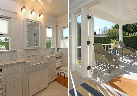 A fürdőszoba ablakai a kertre néznek, a verandán jó időben reggeltől estig a szabad levegőn lehetnek a ház lakói.