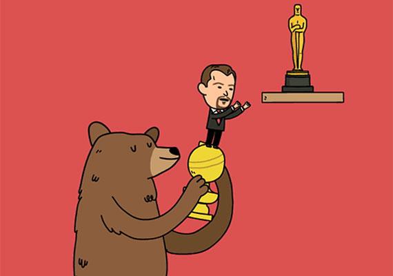 Leonardo DiCapriót ötödször jelölték az Akadémia díjára, amelyet remélhetőleg a hétvégén meg is kap. Ehhez A visszatérő című filmjében megjelent medve segíti hozzá, aki a történet szerint majdnem halálra marcangolja a színészt.