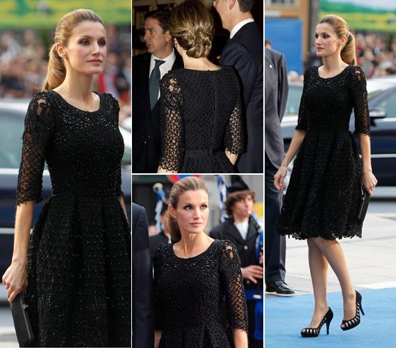 Letícia már korábban is lenyűgözte az alattvalókat egy fekete csipkeruhában. A Felipe Varela kreációt gyöngyök is díszítették. A ruhához egy feltűnő, fekete tűsarkút és egy lapos retikült viselt. Haját ekkor is kontyban hordta.