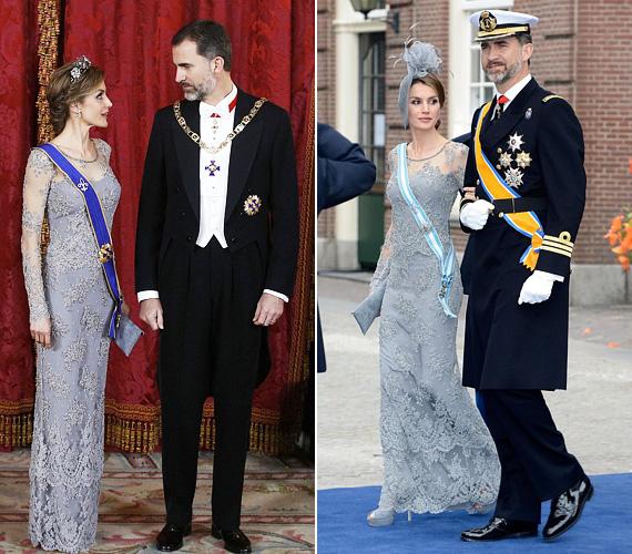 A spanyol királyné nem először viselte ezt a szürkés csipkeruhát, 2013 áprilisában ugyanez volt rajta, amikor beiktatták Vilmos Sándor holland királyt, csak akkor a tiara volt rajta, helyette fejdíszt viselt.