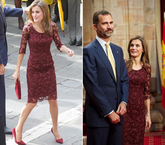 """Letícia egy burgundi csipkeruhában kápráztatta el az alattvalókat 2013 októberében, az Asztúria-díjátadó alkalmával, amit Oviedóban tartottak. A díjakat minden évben Asztúria hercege - aki egyben a spanyol király, azaz Letícia férje - adja át mindazoknak, akik """"kiemelkedő tudományos, kulturális vagy humanitárius cselekedettel"""" vívták ki a figyelmet."""