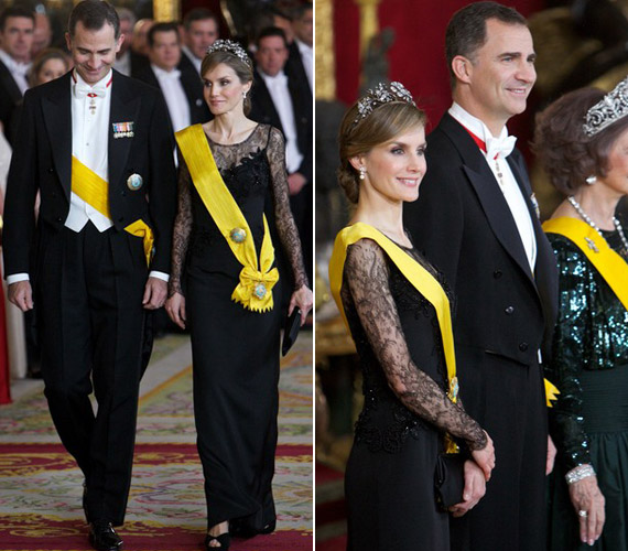 Gyémánt tiarájával és csipkedíszítésű ruhájában Letizia volt az est szépe tegnap.