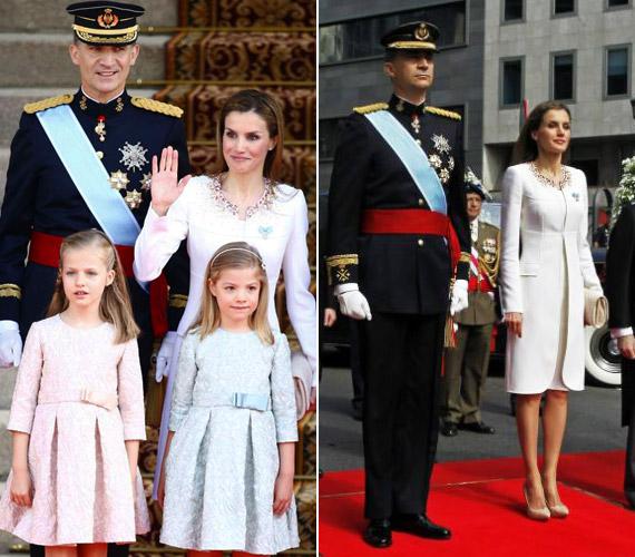 A királyi pár gyermekei, a nyolcéves Leonor és a hétéves Sofia is részt vettek a koronázáson.