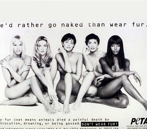 Naomi Cambell négy másik modellel megerősítve támogatta a PETA felhívását.