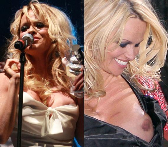 Pamela Andersonnak nem szokatlan a meztelenkedés, csak nevetve nézegette agyonműtött kebleit, miután lecsúszott a ruhája.