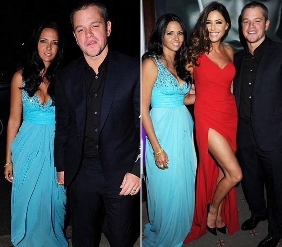 Az este legnépszerűbb sztárvendégei kétségkívül Matt Damon és bájos felesége voltak, akikkel az ünnepelt is mosolyogva fényképezkedett.